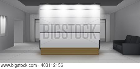 Reception Interior With Lift, Modern Foyer Room With Desk, Illumination, Couch And Elevator Doors. E