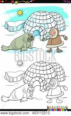 Cartoon Illustration Of Eskimo With His Igloo And Walrus Coloring Book Page
