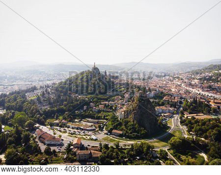 Aerial Panorama Of Historic Architecture Town Le Puy-en-velay Church On Hill Haute Loire Auvergne Rh