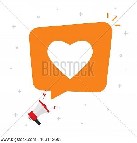 Need Love Or Social Media Likes From Bubble Speech Message Vector Flat Cartoon Concept, Balloon With
