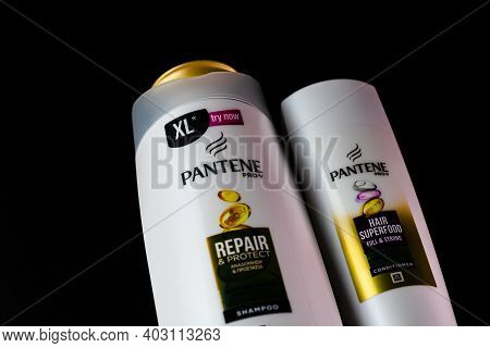 Pantene For Women, Products For Washing Hair Isolated On Black Background. Bucharest, Romania, 2021