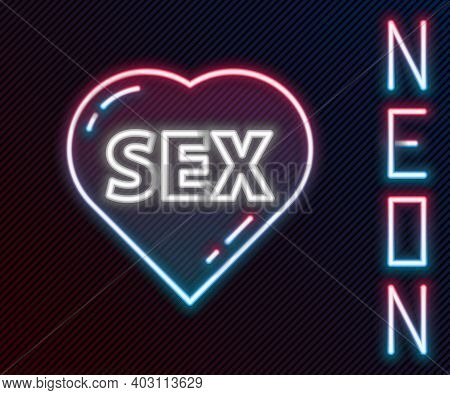 Glowing Neon Line Heart With Text Sex Icon Isolated On Black Background. Adults Content Only Icon. C