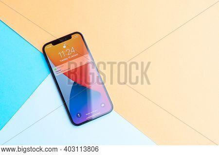 Puerto Cruz, Spain - January 12, 2020: New Iphone 12pro Close Up On Bright Background