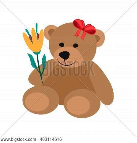 Teddy Bear Flat Vector Illustration. Teddy Bear Holding Flowers Valentines Day Illustration. Cute Te