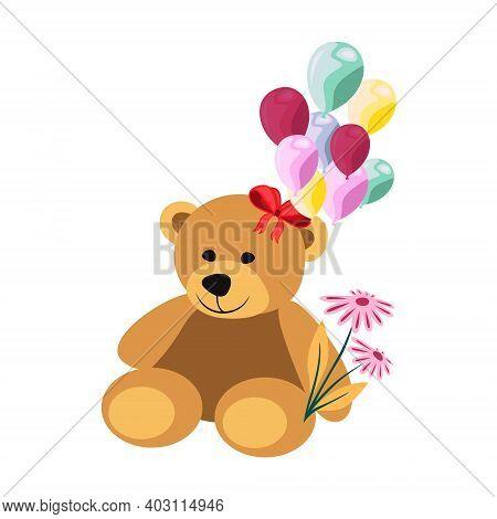 Teddy Bear Flat Vector Illustration. Teddy Bear Holding Balloons Valentines Day Illustration. Cute T