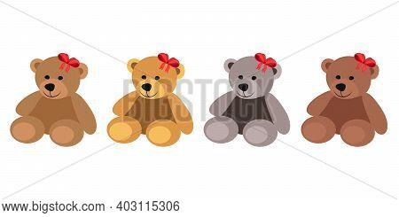 Teddy Bear Set Flat Vector Illustration. Teddy Bears With Bow Valentines Day Illustration. Set Cute