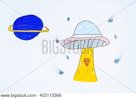 Illustration, Child's Drawing Of The Planets.background Of The Planets.child's Painting Of A Space R