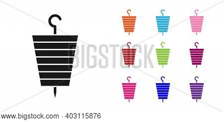 Black Grilled Shish Kebab On Skewer Stick Icon Isolated On White Background. Meat Kebab On Skewer St