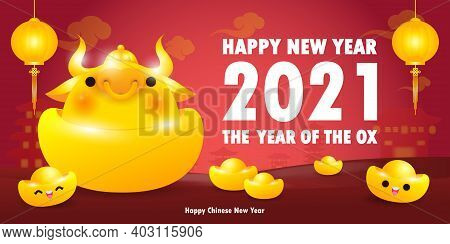 Happy Chinese New Year 2021 Greeting Card, Golden Ox With Gold Ingots The Year Of The Ox Zodiac, Car