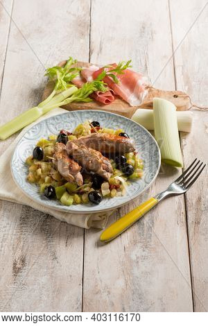 filled rolls with ham leek and black olives