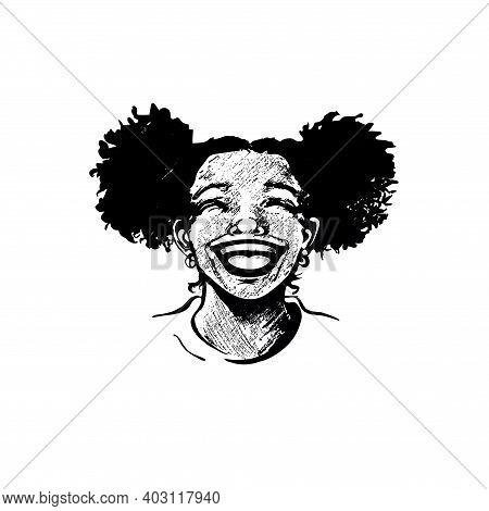 Cute African American Young Woman, Teenager Girl, Laughing Heartily, Lips Wide Open, Shining Teeth,