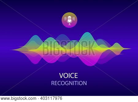 Voice Recognition And Personal Assistant Concept. Illustration Of Gradient Vector Sound Wave And Mic