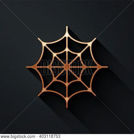 Gold Spider Web Icon Isolated On Black Background. Cobweb Sign. Happy Halloween Party. Long Shadow S