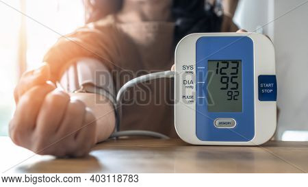 Blood Pressure Monitoring With Digital Sphygmomanometer For Patient With Hypertension Or High Blood