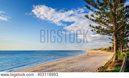Christies Beach View With People At Sunset During A Warm Summer Evening, South Australia