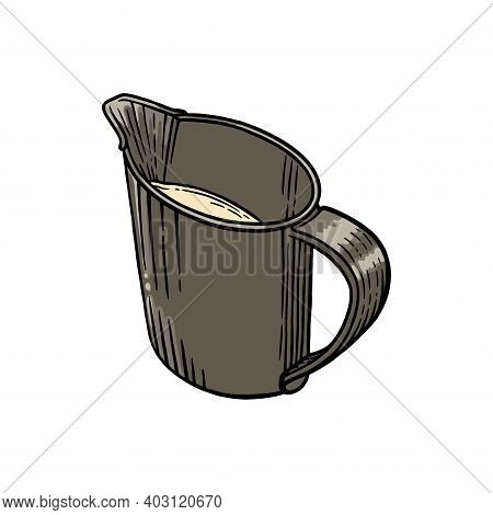 Coffee Creamer Sketch Isolated In White Background. Engraved Illustration Of Creamer With Milk. Vect