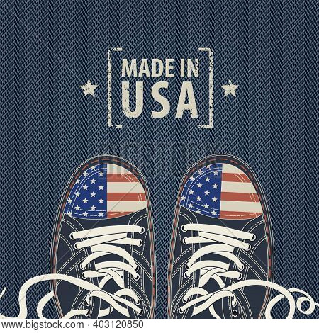 Vector Banner With Words Made In Usa And Stylized Sneakers With American Flag Colors On A Denim Back