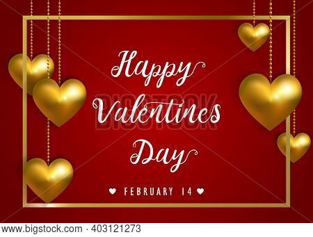 Valentines Day Abstract Background With Golden Hearts. Happy Valentines Day Inscription With Heart A