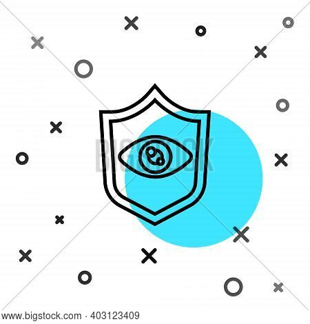 Black Line Shield Eye Scan Icon Isolated On White Background. Scanning Eye. Security Check Symbol. C