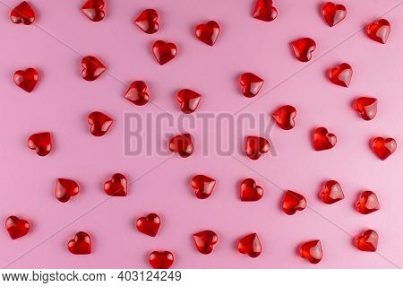 Valentines Day Background Of Red Hearts On Pink Backdrop. Holiday, Father And Mother Day, Background