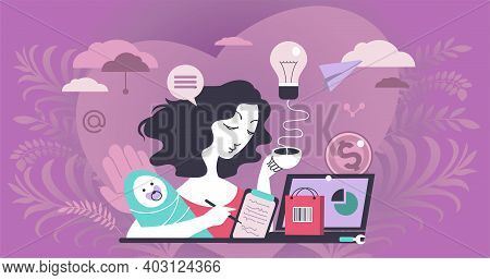 Abstract Vector Illustration. The Modern Woman Combines Motherhood And Business. Family Life And Car