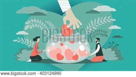 Abstract Vector Illustration. The Symbolic Hand Extending A Heart Into A Donation Jar. The Concept O
