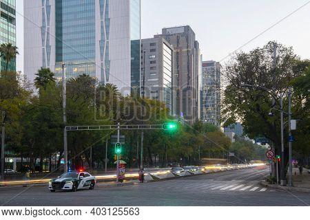 Mexico City - Jan. 17, 2020: Modern Skyscraper Buildings In The Morning On Avenida Paseo De La Refor