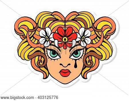 Vector Illustration. Fashionable Tattoo, Sticker, T-shirt Print. Cute Face Of A Girl With Curly Hair