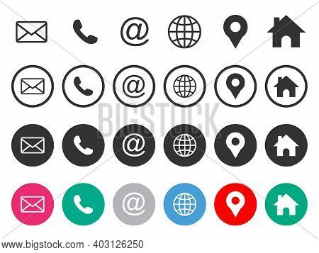 Icon Set. Mail Icon, Phone Icon, Globe Icon, Location Pin Icon, Home Icon. Icon Pack Vector Isolated