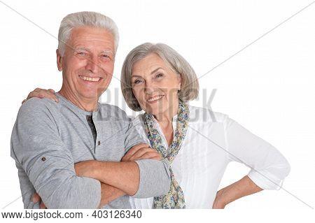Happy Senior Couple Posing Isolated On White Background