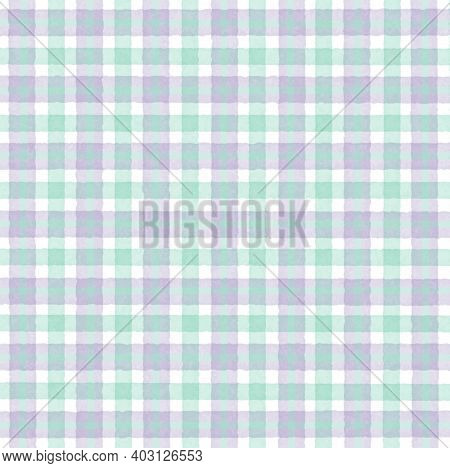 Green White Lavender Lilac Vintage Checkered Background With Blur, Gradient And Grunge Texture. Clas