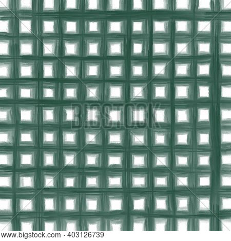 Green Gray White Vintage Checkered Background With Blur, Gradient And Grunge Texture. Classic Checke