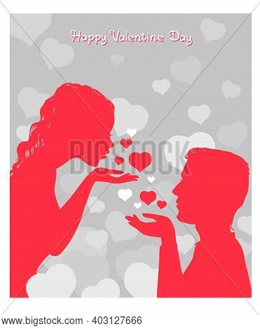 Vector Illustration With An Inscription. Happy Valentine Day. A Loving Couple Surrounded By Hearts.