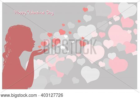 Vector Illustration With An Inscription. Happy Valentine Day. Attractive Girl Sends An Air Kiss Surr