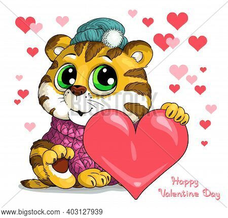 Vector Illustration With The Inscription Happy Valentine Day. A Cute Tiger Cub Gives A Heart. Happy