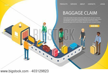 Airport Baggage Claim Vector Website Landing Page Template. Isometric Travelers Getting Luggage Afte