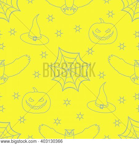 Halloween Vector Seamless Pattern With Cobweb, Eagle Owl, Pumpkin, Hat, Witch, Stars. Design For Par