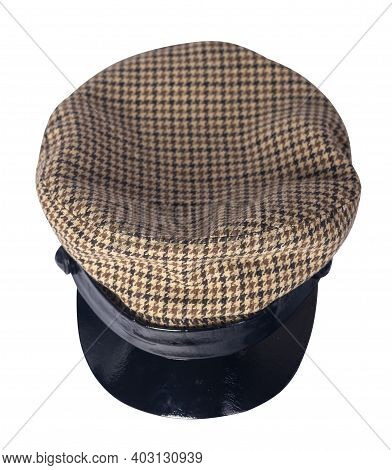 Fashion Brown Hat  With Black Visor Isolated On White Background.cap Female. Colored Hat .