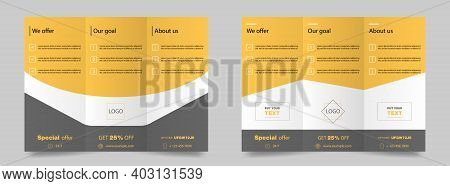 Trifold Brochure Mockup. Magazine Poster Mockup. Brochure Cover For Business. Trifold Template In Ye