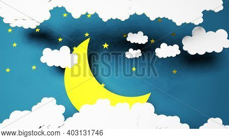 Paper Art Good Night And Sweet Dreams Stars And Night Sky Night Concept And Origami Origami Yellow M