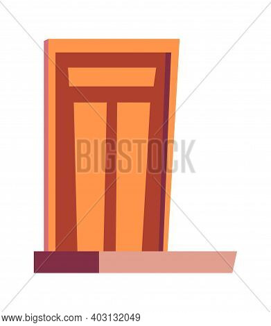 Front Door And Porch, Entrance To Houses Cartoon Isolated Vector Illustration