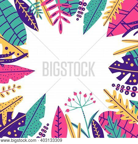 Tropical Bright Leaves On White Background. Trendy Color: Green, Pink, Yellow, Blue. Vector Stock Is