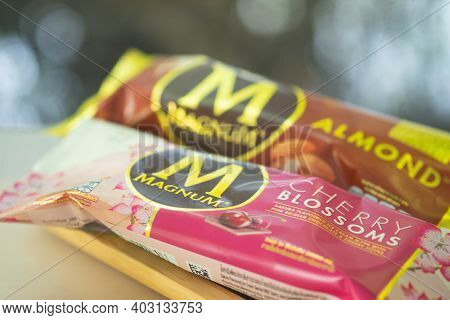 Samut Prakan, Thailand - January 13, 2021 : A Photo Of Magnum Ice Cream In Cherry Blossoms Flavor An