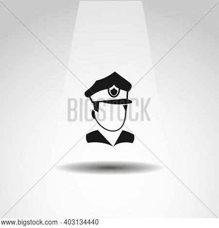 Police Head Icon. Police Cop Isolated Vector Icon. Officer Icon