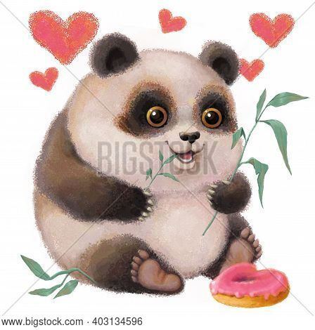 Romantic Illustration In Vintage Style. A Cute Funny Little Panda Is Sitting And Nibbling Eucalyptus