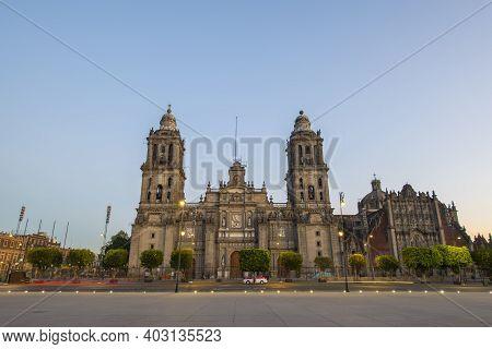 Zocalo Constitution Square And Metropolitan Cathedral At Historic Center Of Mexico City Cdmx, Mexico