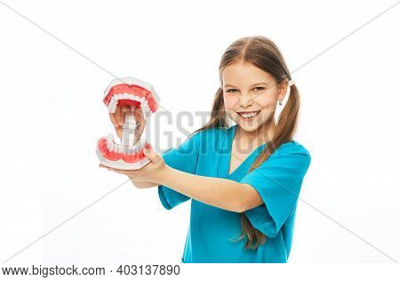 Childrens Dental Health Concept. Cute Girl Showing An Anatomical Model Of Teeth, On A White Backgrou
