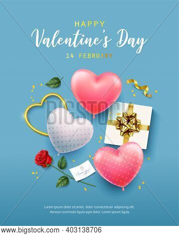 Happy Valentines Day Banner, Flyer, Poster, Greeting Card With Realistic Design Elements, Gift Box,