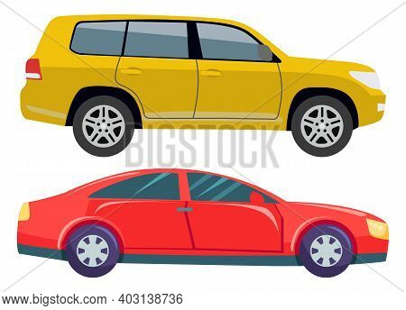 Transport Set Vector, Isolated Muscle Cars Transportation. Jeep Or Hotrod Automobile, Driving Vehicl