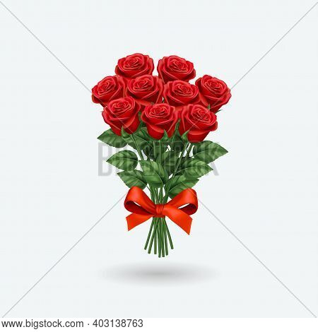 Realistic Red Rose Bouquet. Vector Illustration Eps 10